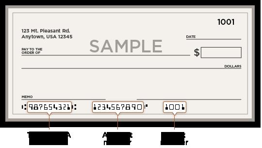 bank check format routing